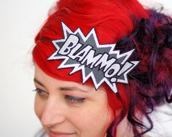SALE - Blammo comic headband Grey and White embroidered - Christmas In July CIJ