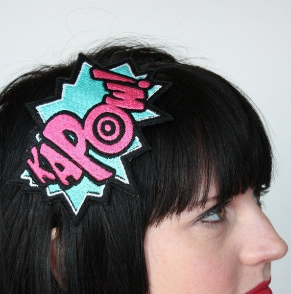 Comic kapow embroidered headband turquoise and hot pink