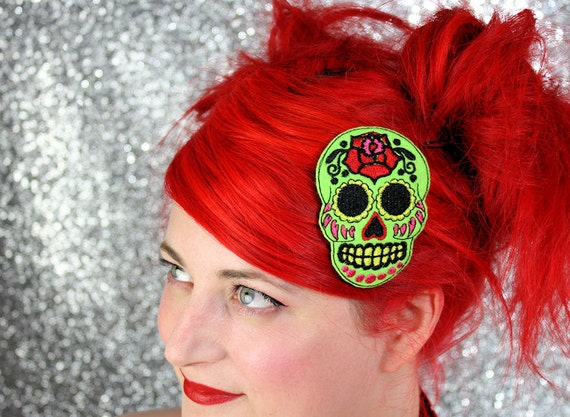 Green Sugar Skull Hair Clip, Day of the Dead