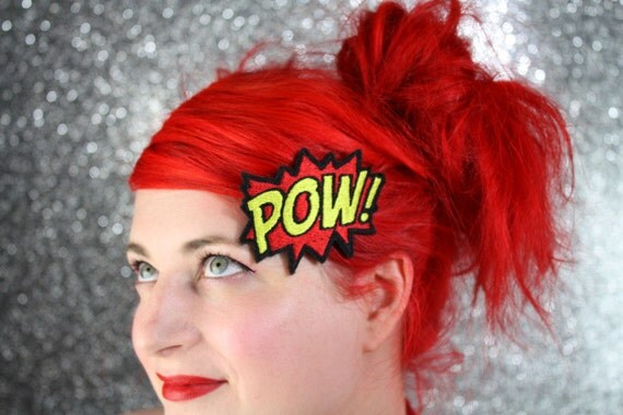 POW Hair Clip, Comic Book Hair Barrette, Red and Yellow -