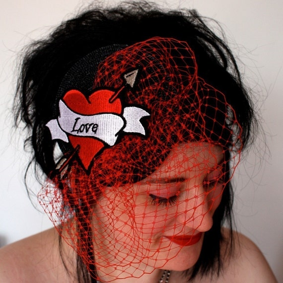 Bridal Fascinator, Retro Tattoo Styled with Veiling, Personalized