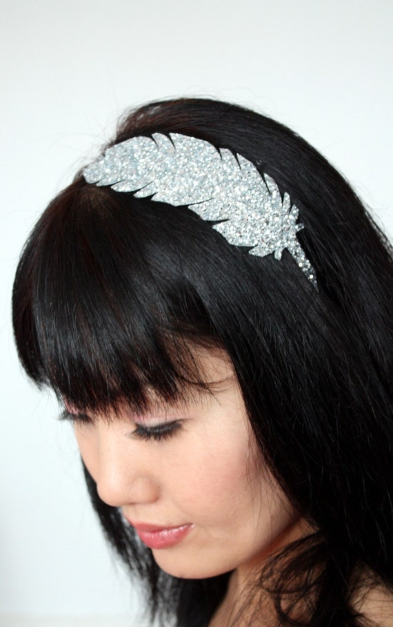 Glitter Feather Headband, Silver and Other Colours Available