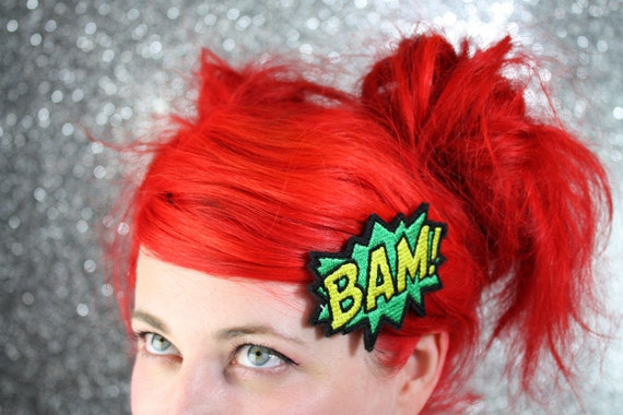 BAM Hair Clip, Comic Book Hair Barrette, Green and Yellow And Other Colours- Black FRiday Cyber Monday
