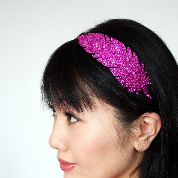 SALE - Hot Pink Headband, Glitter feather, Several Other Colours Available - Christmas In July CIJ
