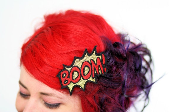 Metallic BOOM Hair Clip, Comic Book Hair Barrette, Gold and Red- Black FRiday Cyber Monday