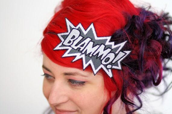 Blammo comic headband Grey and White embroidered