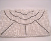 Vintage beaded white and silver clutch purse, wedding or prom