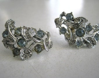 Earrings,vintage 1940's, ice blue and silver, rhinestones, screw backs. something blue, wedding day, sweetly charming for the bride!