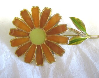 Brooch, 1960s, 1970s, orange and yellow enamel daisy, be a flower child....................