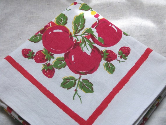 Vintage tablecloth, apples, strawberries, red and yellow flowers, luncheon or picnic size.