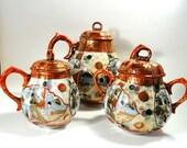 14 pc. Antique Japanese Fine Porcelain Tea Set, Serves 4, Hand Painted, Vintage Dishes