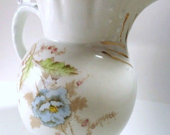 RARE Johnson Brothers Water Pitcher Blue and Brown Floral Pattern Semi-Porcelain// Vintage Serveware