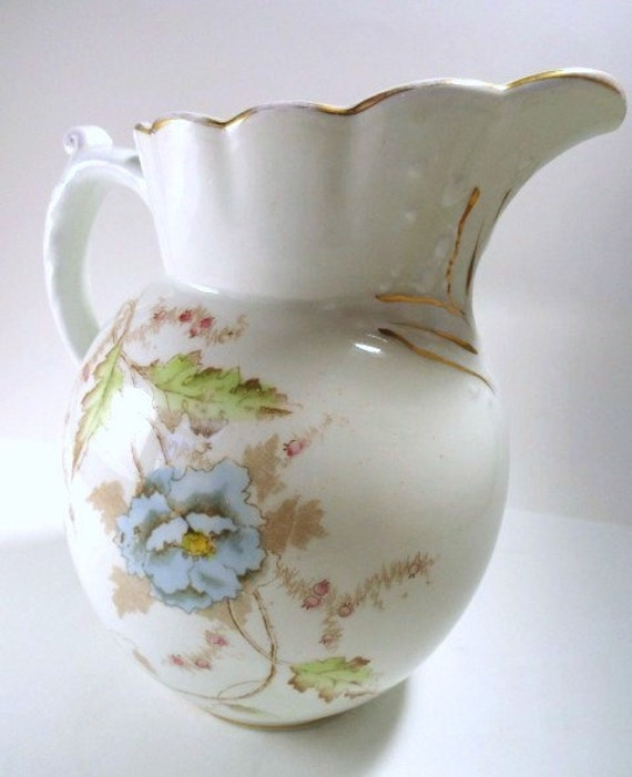 Vintage Water Pitcher White with Blue and Brown Floral Pattern Johnson Bros. Semi-Porcelain// Vintage Serveware