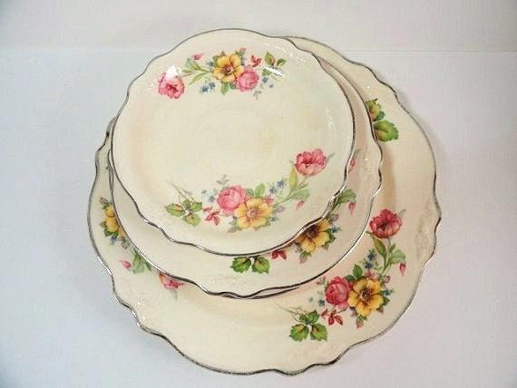 1940 39 S Homer Laughlin China Plates Virginia Rose Pattern