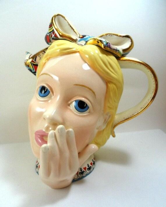 Vintage Alice In Wonderland Head Teapot Tea Pot By Paul