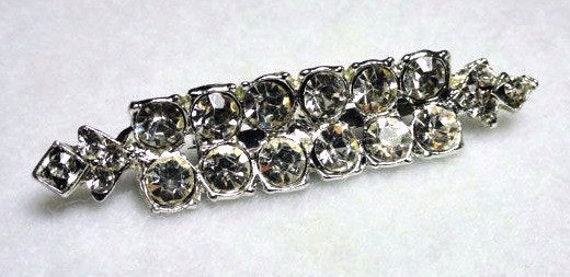 1950's Crystal Diamonds Brooch in Silver Tone