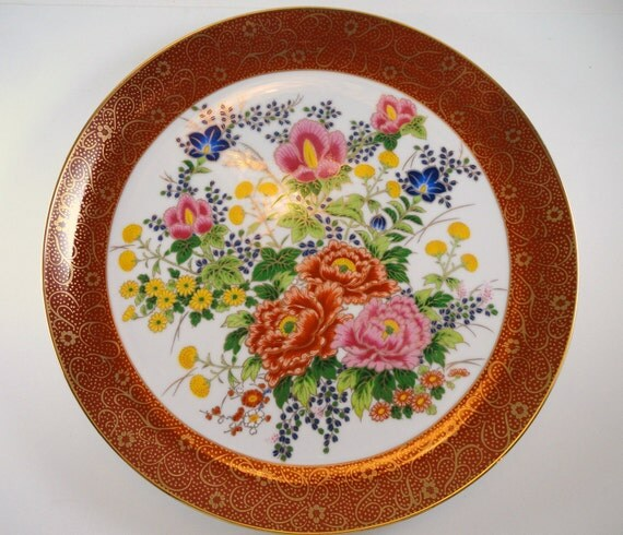 ON SALE Vintage Satsuma Plate with Hand Painted Wild Flowers, Red and Gold Rim