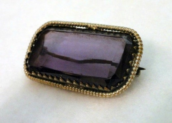 Victorian Amethyst Rectangular Glass Brooch, Antique Brooch, Antique Jewelry