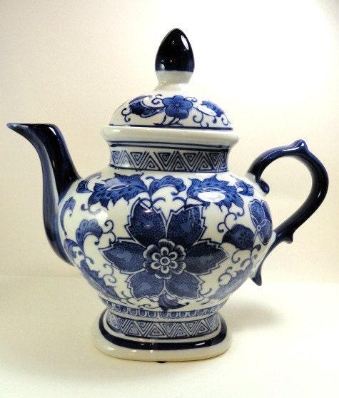 Vintage China Teapot Tea Pot Cobalt Blue And White Flowered