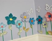 Sale- Wall Decor for Kids' Room- Blue with Flowers Fabric Wall Flower
