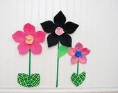 SALE. swirls. black. fabric wall flower. wall decor