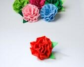 fabric flower push pins. set of 3.