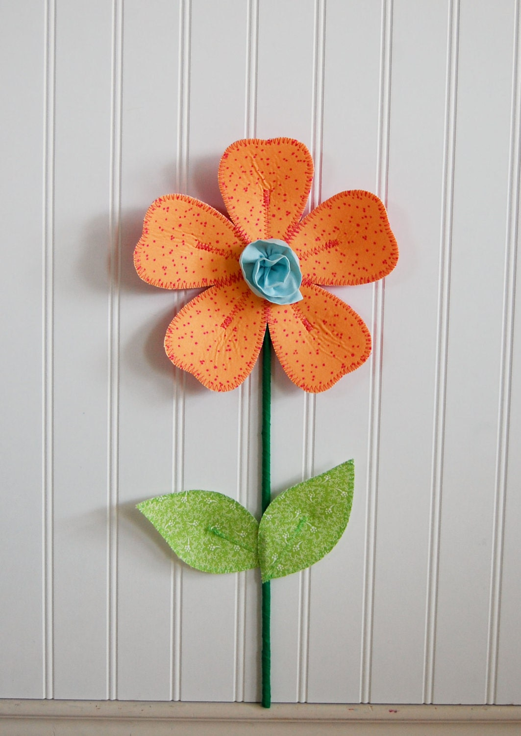 Sale fabric wall flower 3d wall art dots orange and pink for 3d flowers for wall decoration