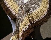 Crocheted Plumeria Frill Scarf or Shawl