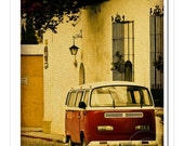Red Vintage Volkswagen Bus in Guatemala. Original Fine Art Photograph from Sisters in Photocraft.