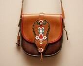 Vintage 1980's Kenzo Floral Folk Embroidered Leather Crossbody Purse Bag