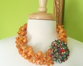 HEIDI - Double Strand Orange Sea Coral Necklace with Vintage Inspired Brooch