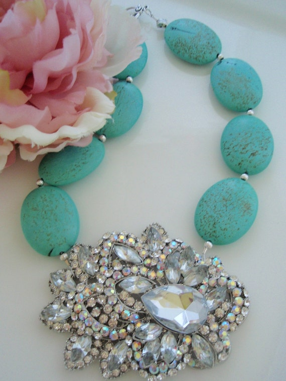 DRAMA QUEEN - Turquoise Howlite with Crystal Brooch Necklace