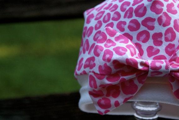 Baby hat, Hot Pink Leopard Print,  Newborn Baby Cap, Beanie, Hat, Size 0 to 6 months