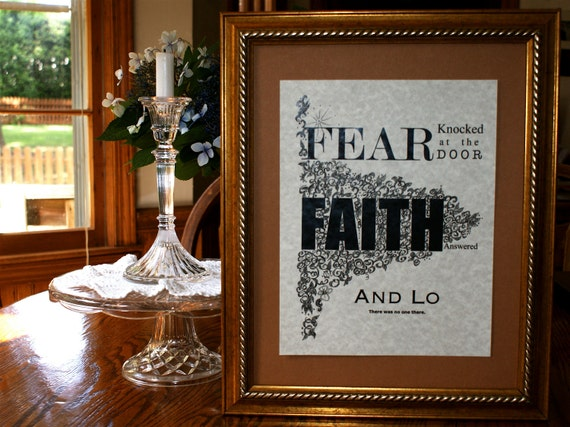 Custom Calligraphy Print, Answer to Fear, Encouragement, Inspiration, PIF