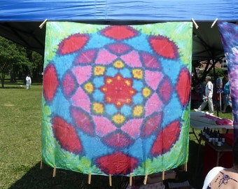 Lotus Blossom Tie Dye Silk Tapestry 44X44