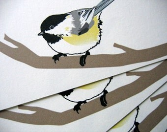 Chickadee notecards A2 size