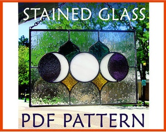 Easy Triple Moon Stained Glass Pattern / Stain Glass Moon Phase PDF / Goddess Suncatcher Panel Pattern