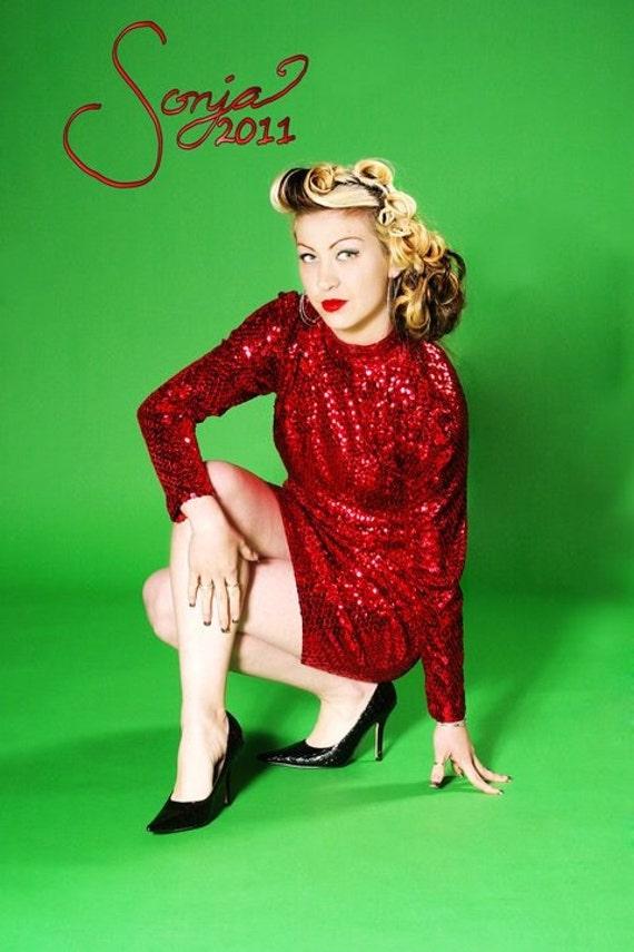 Red Sequin Oleg Cassini Cocktail Dress