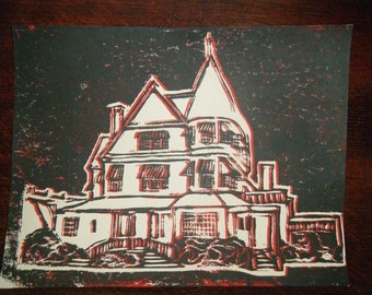 House Linocut Print, Hand Pulled, 8.5x11 Inches, Cardstock