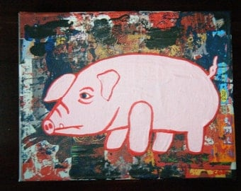 Original Painting of a Pink Pig with Abstract Background on 8x10 Inch Canvas