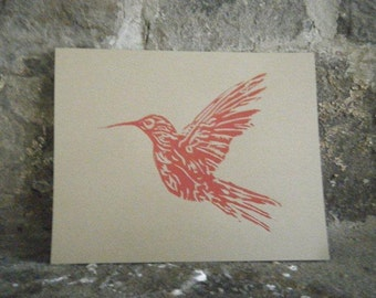 Hummingbird Print, Linocut on Kraft Cardstock Measuring 8x10 Inches