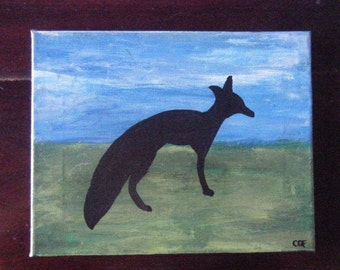 Painting of a Fox Silhouette on Canvas with Sky and Grass Background