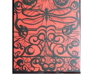 "Original Painting in Wrought Iron Style, ""Dragonfly Pills,"" 16x20 Inches, Canvas"