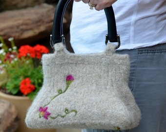Felted Purse - Oatmeal Flowered Clutch