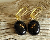 Black and Gold Dragonfly Earrings Fused Glass
