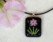 Purple Flower - Fused Glass Pendant