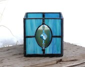 Aqua Blue Stained Glass Candle Holder with Bead Accent