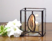 Agate and Clear Stained Glass Candle Holder