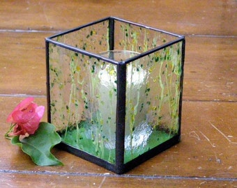 green glass candle holders stained glass candle holder tea candle green and 3984