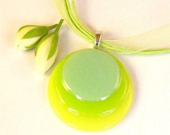 Circles Fused Glass Pendant Necklace Sea Green Yellow and Bright Green on Ribbon Cord Necklace